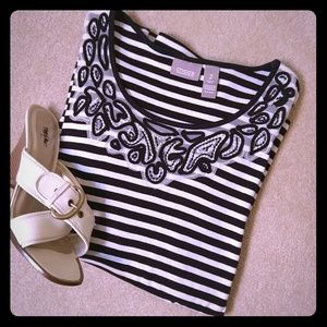 Chico's navy and white top